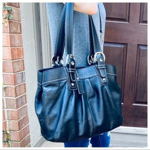 BLACK VINTAGE SOFT LEATHER COACH BUCKLE TOTE BAG